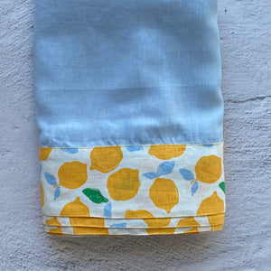 Chambray Blue Tablecloth with Lemon Trim