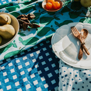 Gingham in Navy Tablecloth