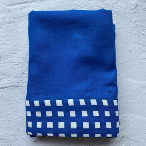 Cobalt Blue Tablecloth with Gingham Trim