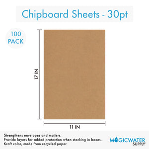 100 Sheets Chipboard 11 x 17 inch - 30pt (point) Medium Weight Brown Kraft Cardboard Scrapbook Sheets & Picture Frame Backing (.030 Caliper Thick) Paper Board | MagicWater Supply