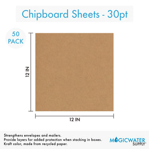 50 Sheets Chipboard 12 x 12 inch - 30pt (point) Medium Weight Brown Kraft Cardboard Scrapbook Sheets & Picture Frame Backing (.030 Caliper Thick) Paper Board | MagicWater Supply