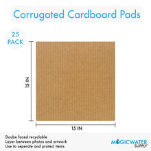 "Corrugated Cardboard Filler Insert Sheet Pads 1/8"" Thick - 15 x 15 Inches for Packing, mailing, and Crafts - 25 Pack"