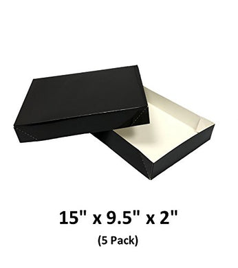 Black Apparel Decorative Gift Boxes With Lids For Clothing and Gifts 15x9.5x2 (5 Pack) | MagicWater Supply