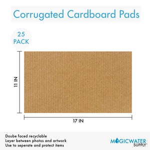 "Corrugated Cardboard Filler Insert Sheet Pads 1/8"" Thick - 17 x 11 Inches for Packing, mailing, and Crafts - 25 Pack"