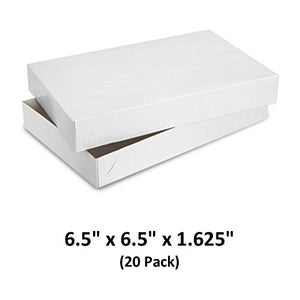 White Gloss Cardboard Apparel Decorative Gift Boxes with Lids for Clothing and Gifts 6.5x6.5x1-5/8 (20 Pack) | MagicWater Supply