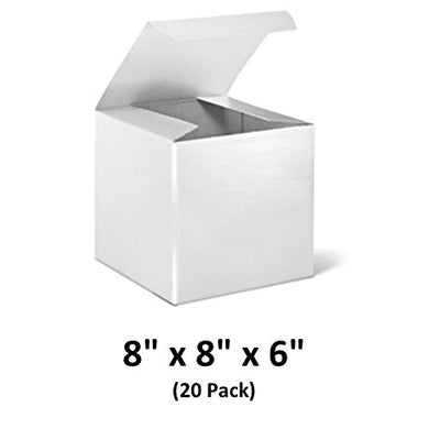 White Cardboard Tuck Top Gift Boxes with Lids, 8x8x6 (20 Pack) for Gifts, Crafting & Cupcakes | MagicWater Supply