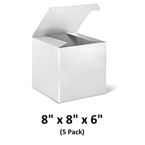 White Cardboard Tuck Top Gift Boxes with Lids, 8x8x6 (5 Pack) for Gifts, Crafting & Cupcakes | MagicWater Supply