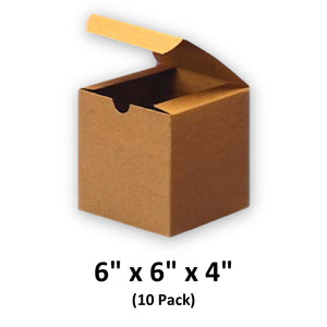 Brown Cardboard Kraft Tuck Top Gift Boxes with Lids, 6x6x4 (10 Pack) for Gifts, Crafting & Cupcakes | MagicWater Supply