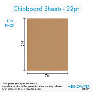 100 Sheets Chipboard 5 x 7 inch - 22pt (point) Light Weight Brown Kraft Cardboard Scrapbook Sheets & Picture Frame Backing Paper Board