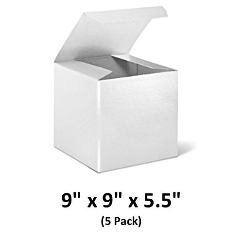 White Cardboard Tuck Top Gift Boxes with Lids, 9x9x5.5 (5 Pack) for Gifts, Crafting & Cupcakes | MagicWater Supply