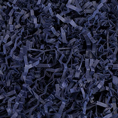 Crinkle Cut Paper Shred Filler (1/2 LB) for Gift Wrapping & Basket Filling - Navy Blue | MagicWater Supply