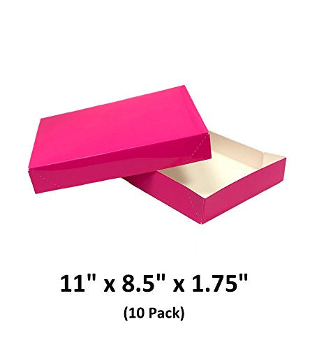 Hot Pink Apparel Decorative Gift Boxes With Lids For Clothing and Gifts 11x8.5x1.75 (10 Pack) | MagicWater Supply