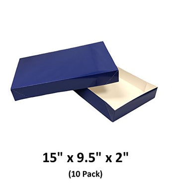 Royal Blue Apparel Decorative Gift Boxes With Lids For Clothing and Gifts 15x9.5x2 (10 Pack) | MagicWater Supply
