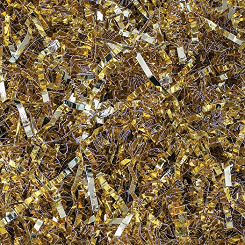 Crinkle Cut Paper Shred Filler (2 LB) for Gift Wrapping & Basket Filling - Gold Metallic | MagicWater Supply