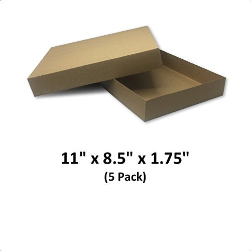 Brown Cardboard Kraft Apparel Decorative Gift Boxes with Lids for Clothing and Gifts, 11x8.5x1.75 (5 Pack) | MagicWater Supply
