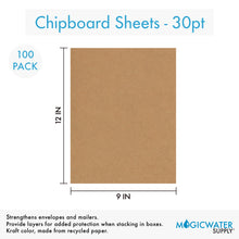 100 Sheets Chipboard 9 x 12 inch - 30pt (point) Medium Weight Brown Kraft Cardboard Scrapbook Sheets & Picture Frame Backing (.030 Caliper Thick) Paper Board | MagicWater Supply