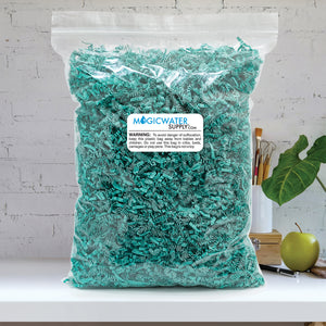 Crinkle Cut Paper Shred Filler (5 LB) for Gift Wrapping & Basket Filling - Teal | MagicWater Supply
