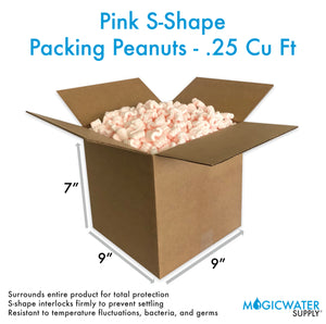1/4 Cu Ft Pink Anti Static Packing Peanuts S shape Loose Fill | Magicwater Supply