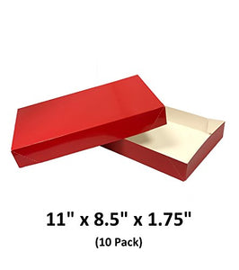 Red Apparel Decorative Gift Boxes With Lids For Clothing and Gifts 11x8.5x1.75 (10 Pack) | MagicWater Supply