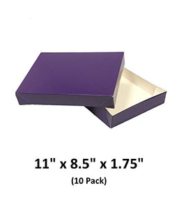 Grape Apparel Decorative Gift Boxes With Lids For Clothing and Gifts 11x8.5x1.75 (10 Pack) | MagicWater Supply