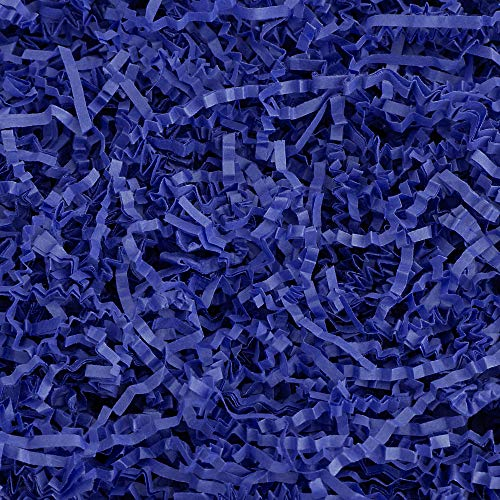 Crinkle Cut Paper Shred Filler (1 LB) for Gift Wrapping & Basket Filling - Royal Blue | MagicWater Supply