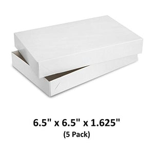 White Gloss Cardboard Apparel Decorative Gift Boxes with Lids for Clothing and Gifts 6.5x6.5x1.5/8 (5 Pack) | MagicWater Supply