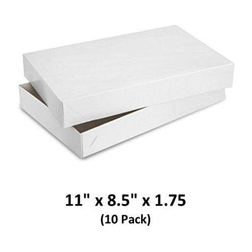 White Gloss Cardboard Apparel Decorative Gift Boxes with Lids for Clothing and Gifts 11x8.5x1.75 (10 Pack) | MagicWater Supply