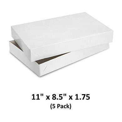 White Gloss Cardboard Apparel Decorative Gift Boxes with Lids for Clothing and Gifts 11x8.5x1.75 (5 Pack) | MagicWater Supply