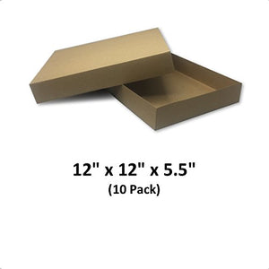 Brown Cardboard Kraft Apparel Decorative Gift Boxes with Lids for Clothing and Gifts, 12x12x5.5 (10 Pack) | MagicWater Supply