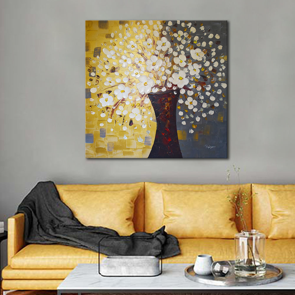 Huge Handmade Oil Painting on Stretched Canvas of Textured Flowers