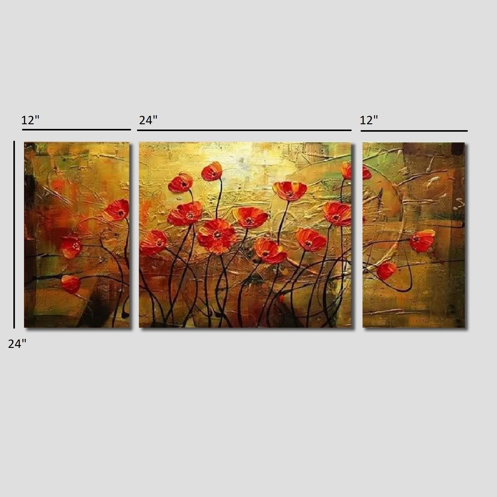 Handmade oil painting on canvas of poppy flowers in group papiyona handmade oil painting on canvas of poppy flowers in group mightylinksfo