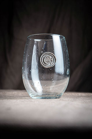 Stemless Wine With Pewter Initial