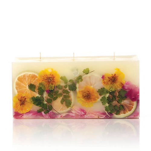 Botanical Three Wick Brick Candle in Lemon Blossom & Lychee