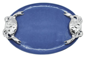 Mariposa Cobalt Crab Handle Serving Tray