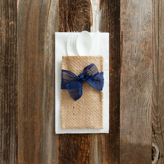 Place Setting Pouches with Navy Ribbon, Set of 8