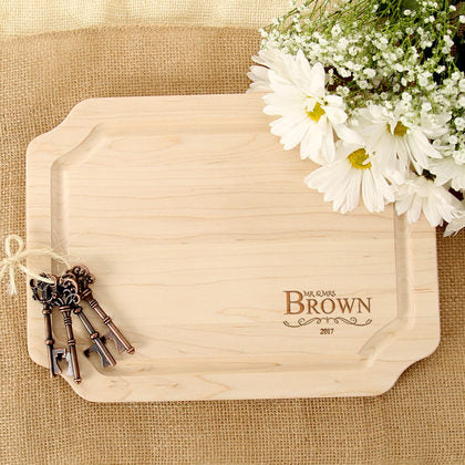 Corner Motif Personalized Wood Board