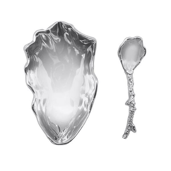 Mariposa Oyster Dish with Coral Spoon
