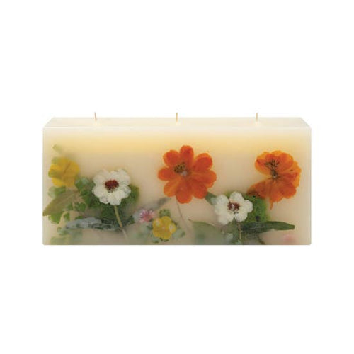 Botanical Three Wick Brick Candle in Peony & Pomelo