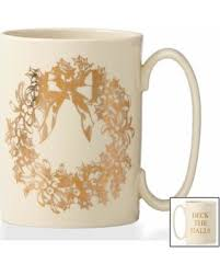 Lenox Golden Holiday Wreath Mug