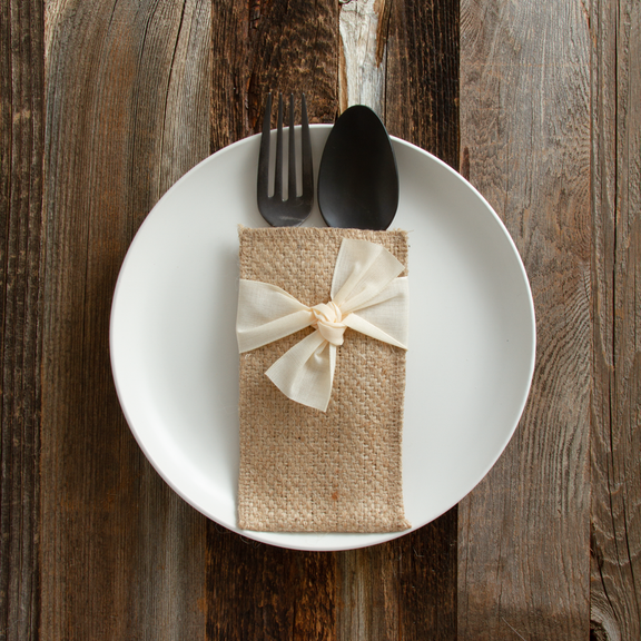 Place Setting Pouches with Cream Ribbon, Set of 8