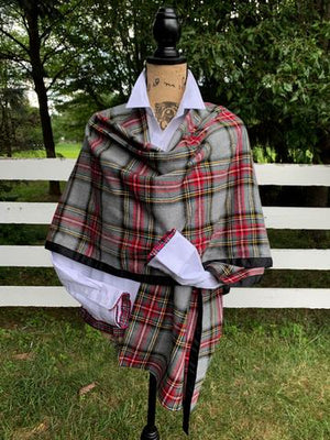 Grey Plaid Cotton Cape