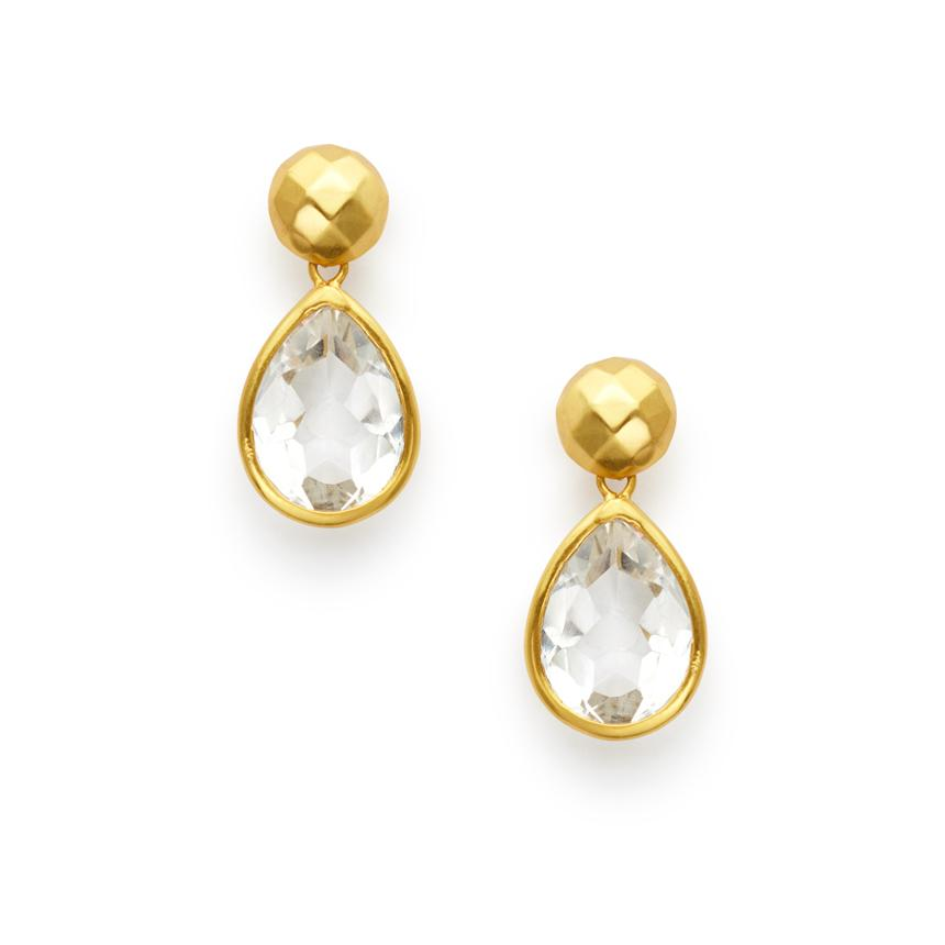 Julie Vos Catalina Midi Earring in Clear Crystal
