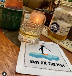 Easy On The Ice Cocktail Napkins, Set of 4