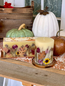 Botanical Three Wick Brick Candle in Pumpkin Cardamom