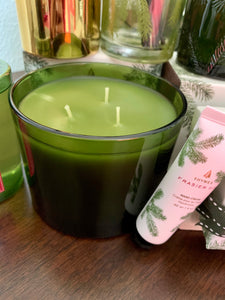 Thymes Frasier Fir Green Glass Three Wick Candle