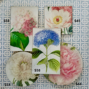 Botanical Glass Trays in Peony, Multiple Sizes