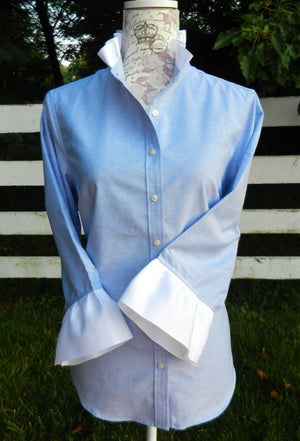 Ribbon Trimmed Oxford Shirt