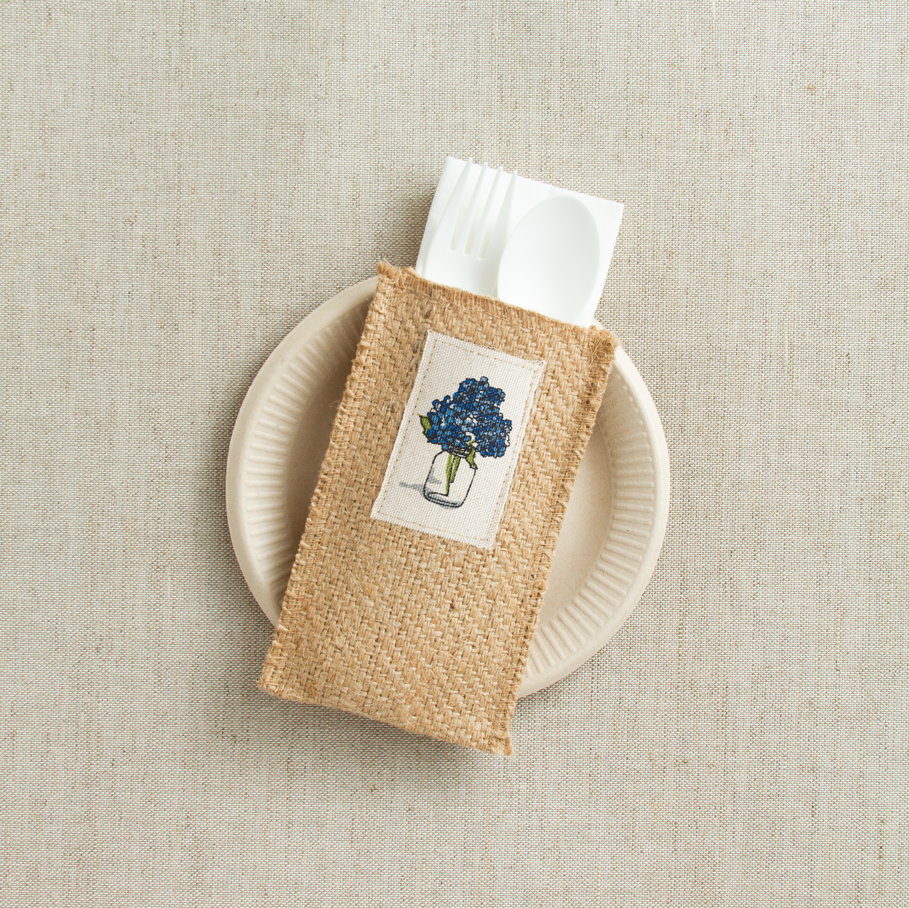 Place Setting Pouches with Hydrangea Patch, Set of 8
