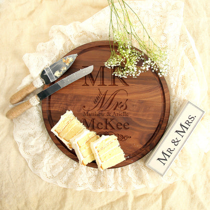 Mr. & Mrs. Round Personalized Wood Board