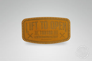 LEATHER PATCH - LIFT TO OPEN / COGNAC